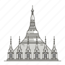 pagoda, famous, landmarks, shwedagon, world