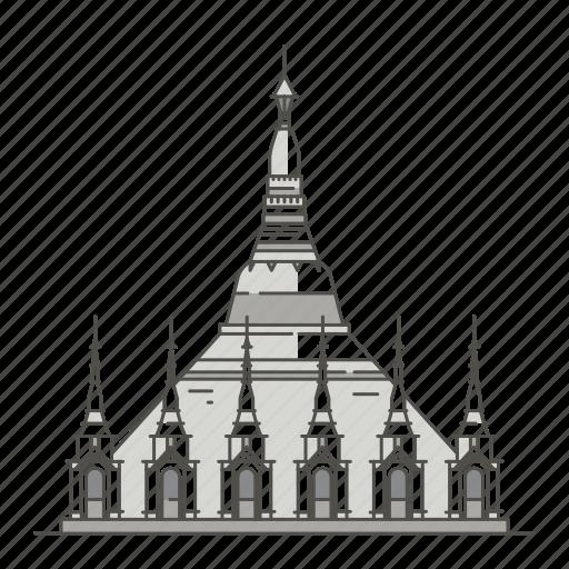 famous, landmarks, pagoda, shwedagon, world icon