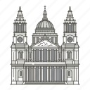 landmarks, pauls, st, famous, world, cathedral icon