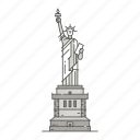 famous, landmarks, liberty, of, statue, world icon