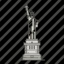 famous, landmarks, liberty, of, statue, world icon