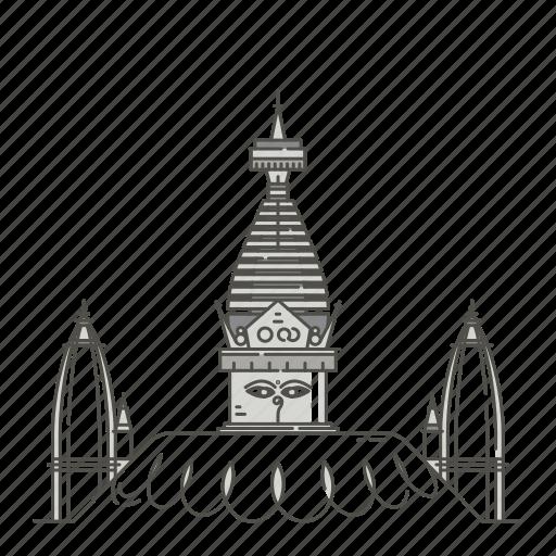 famous, landmarks, swayambhunath, world icon