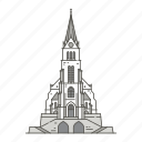 cathedral, landmarks, famous, world, vaduz icon