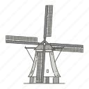 famous, kinderdijk, landmarks, of, windmills, world icon