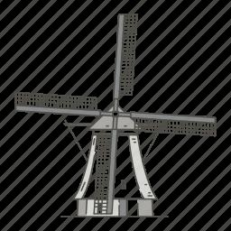 famous, kinderdijk, landmarks, of, windmills, world icon