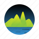 island, landscape, mountain, tree icon