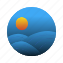 night, ocean, sea, waves icon