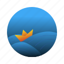 boat, origami, sea, wave icon