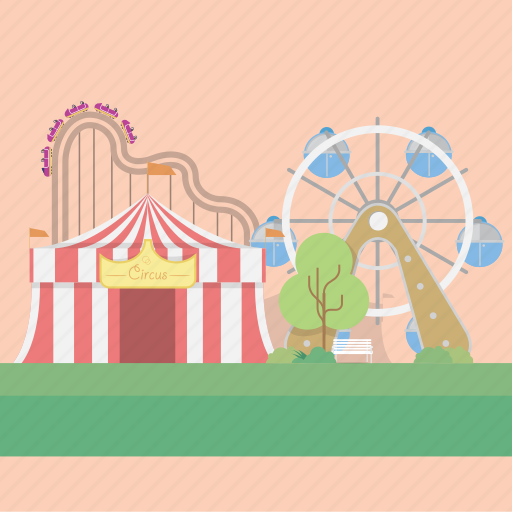 amusement, circus, roller coaster, tree, vehicle icon