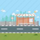 bus stop, bus terminal, city, cloud, morning, sun, urban icon
