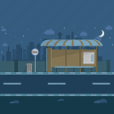 bus stop, bus terminal, cloud, moon, night, stars, urban icon