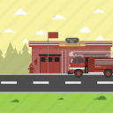firefighter, office, road, station, truck icon