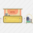 bag, holiday, hotel, industry, interior, receptionist, suitcase icon