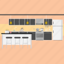chair, interior, kitchen, knife, refrigerator, stove icon