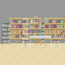 book, chair, interior, knowledge, learning, library, table icon