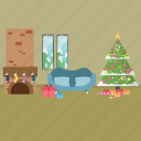 event, gift, holiday, interior, merry christmas, snow, tree icon