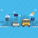 bus, car, city, school, traffic light icon