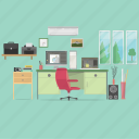animator, camera, chair, computer, interior, printer, workspace icon