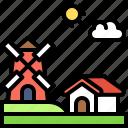 landscape, land, terrain, windmill, farm