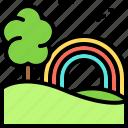 landscape, land, terrain, rainbow