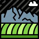 landscape, land, terrain, plain, mountain, field