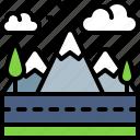 landscape, land, terrain, road, mountain