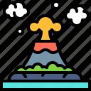 landscape, land, terrain, volcano, eruption