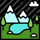 landscape, land, terrain, mountain, lake, nature