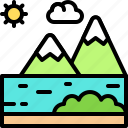 landscape, land, terrain, river, water, mountain, lake
