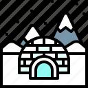 landscape, land, terrain, snow, igloo
