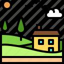 landscape, land, terrain, house, farm