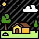 landscape, land, terrain, house, cottage