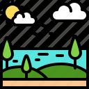 landscape, land, terrain, sea, tree