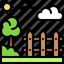 landscape, land, terrain, fench, garden