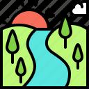 landscape, land, terrain, forest, river