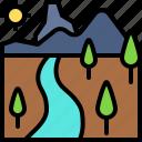 landscape, land, terrain, river, forest