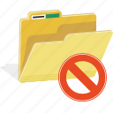 directory, document, erase, folder, forbidden, hide, remove icon