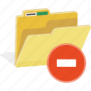 directory, erase, file, folder, forbidden, remove, sign icon