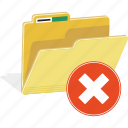 directory, erase, folder, forbidden, hide, remove, warning icon