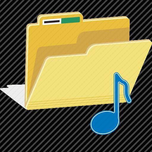directory, file, folder, music, note, sound icon