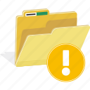 data, directory, document, file, folder, sign, warning icon
