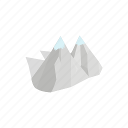 design, isometric, landscape, mountains, nature, outdoor, peak icon