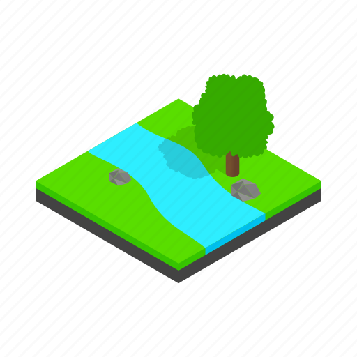 isometric, landscape, nature, outdoor, river, tree, water icon