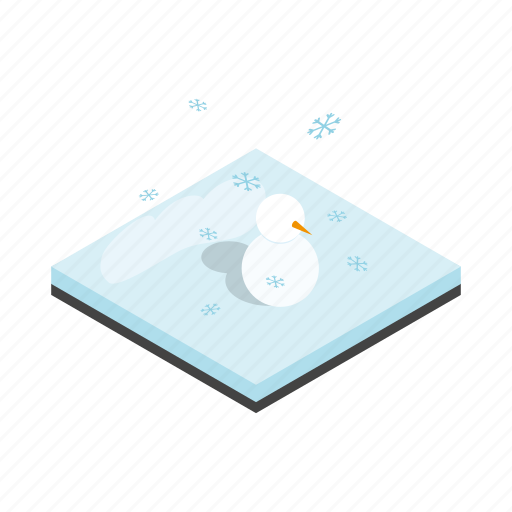 christmas, holiday, isometric, landscape, snow, snowman, winter icon