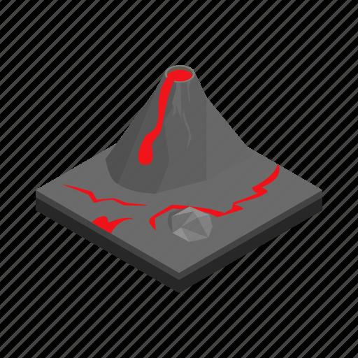 eruption, isometric, landscape, lava, mountain, natural, volcano icon