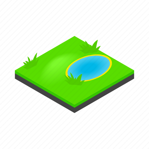 green, isometric, lake, landscape, nature, sky, water icon