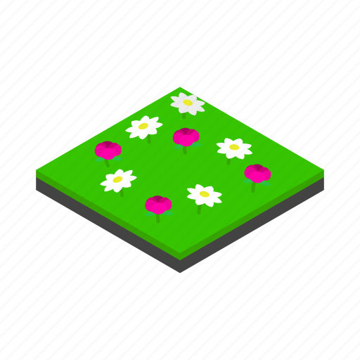 green, isometric, landscape, meadow, nature, outdoor, reflection icon