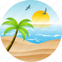 beach, bird, hotel, landscape, nature, pacific, palm, sun, tourism, tropical icon