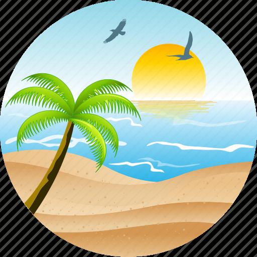 beach, bird, hotel, landscape, nature, pacific, palm, sun, tourism, tropical icon