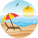 beach, bird, hotel, landscape, nature, pacific, palm, sun, tourism, tropical, umbrella icon